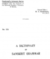 Sanskrit - English Grammar Dictionary